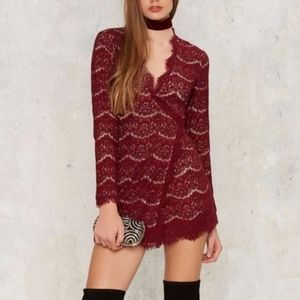 NWOT Nasty Gal Red Lace Wrap Mini Dress